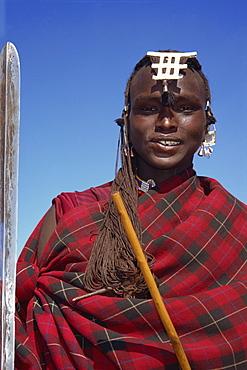 Masai warrior in red, Masai Mara National Park, Kenya, East Africa, Africa