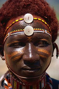 Samburu Moran wearing traditional beads, Sererit, Kenya, East Africa, Africa