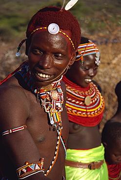 Samburu boy and girl wearing traditional beads, Sererit, Kenya, East Africa, Africa