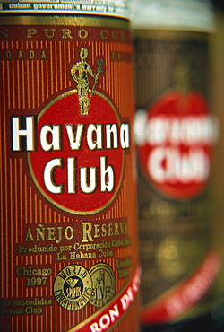 Bottles of Havana Club Rum, Cuba, West Indies, Central America