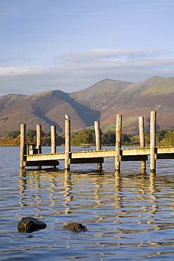 Wooden jetty at Barrow Bay landing on Derwent Water looking north to Skiddaw in autumn, Keswick, Lake District National Park, Cumbria, England, United Kingdom, Europe