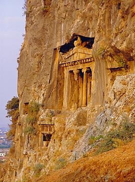Lycian rock tombs (circa 400 BC), near Fethiye, Turkey, Eurasia
