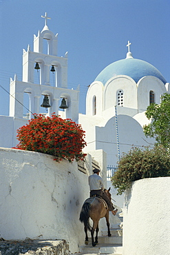 Figure on donkey passing church bell tower and dome, Vothonas, Santorini (Thira), Cyclades Islands, Greece, Europe