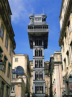 The Santa Justa Lift, designed by Eiffel, in the centre of Lisbon, Portugal, Europe