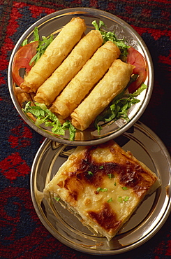 Common warm starter of borek rolls and cheese pie, Turkey, Eurasia