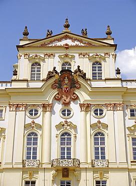 The Rococo facade of the Archbishop's Palace, Prague, Czech Republic, Europe