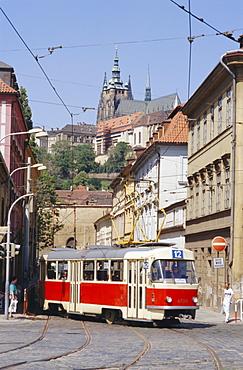Tram in the Lesser Quarter, Prague, Czech Republic, Europe