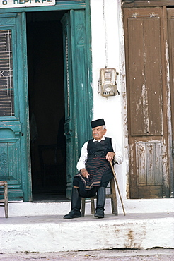 Old man in traditional costume, Crete, Greece, Europe