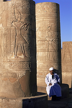 Pillars in the temple of Sobek and Horus, Kom Ombo, Egypt, North Africa, Africa