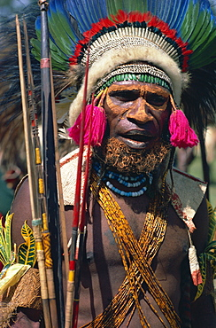 Portrait of a warrior from Asaro clan at sing-sing in West Highlands, Papua New Guinea, Pacific