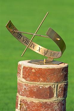 Garden sundial, Herstmonceux Castle, Sussex, England, United Kingdom, Europe - 6-7349