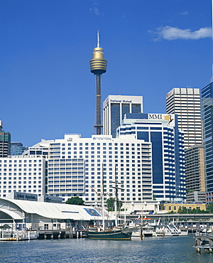 Waterfront and dockside city skyline including the AMP Tower, Sydney, New South Wales, Australia, Pacific