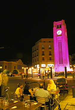 Cafes at night, Place d'Etoile, Beirut, Lebanon, Middle East