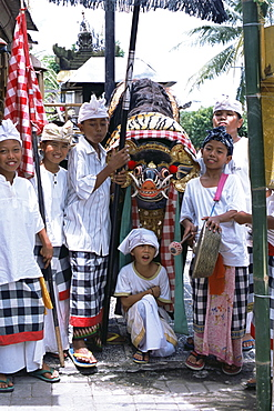 Children dressed up for Galungan, the day before Nyepi holiday, Ubud, Bali, Indonesia, Southeast Asia, Asia