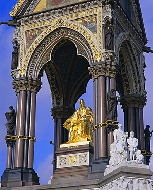 Statue of Prince Albert, consort of Queen Victoria, the Albert Memorial, Kensington Gardens, London, England, UK, Europe