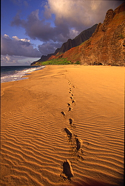 Foot Prints in Sand, Kalalau Beach, Napali Coast, Kauai, Hawaii
