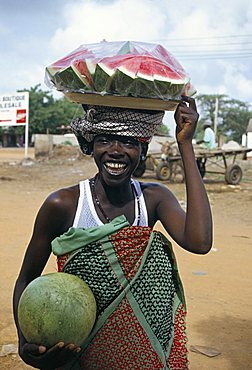 Woman selling water melons, the Gambia, West Africa, Africa