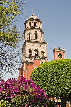 Tower of the convent church of San Francisco, Santiago de Queretaro (Queretaro), a UNESCO World Heritage Site, Queretaro State, Mexico, North America