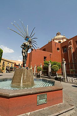 Statue of Indian dancer, Santiago de Queretaro (Queretaro), a UNESCO World Heritage Site, Queretaro State, Mexico, North America