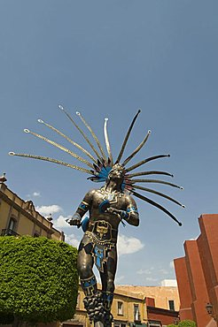 Statue of Indian dancer, Queretaro, Queretaro State, Mexico, North America