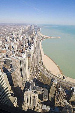 Lake Michigan taken from the Hancock Building, Chicago, Illinois, United States of America, North America