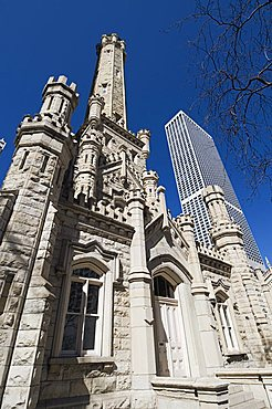 Chicago Water Tower in foreground, Hancock Building in background, Chicago, Illinois, United States of America, North America