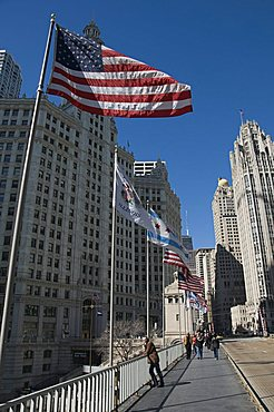 Wrigley Building on left, Tribune Tower on right, Chicago, Illinois, United States of America, North America