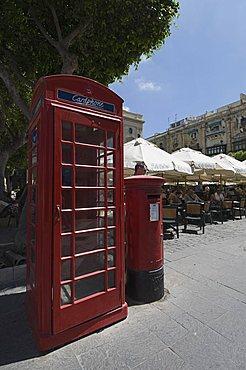 British telephone box and post box, Valletta, Malta, Europe