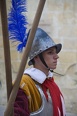 Guard in Medieval costume in Mdina the fortress city, Malta, Europe