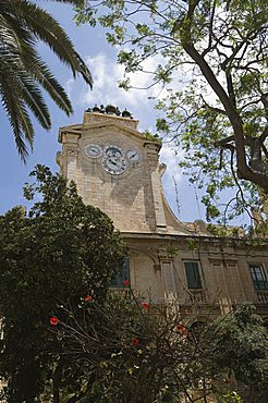 Clock tower with bells, Grand Master's Palace, Valletta, Malta, Europe