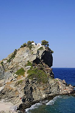 Church of Agios Ioannis, used in the film Mamma Mia for the wedding scene, Skopelos, Sporades Islands, Greek Islands, Greece, Europe