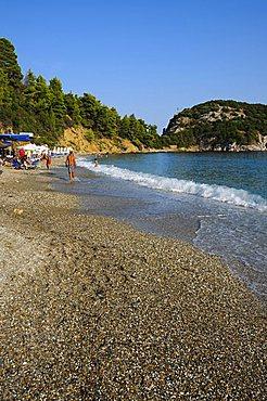 Beach at Stafilos, Skopelos, Sporades Islands, Greek Islands, Greece, Europe