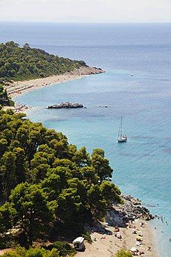 Kastani Beach foreground, and Milia Beach beyond, Skopelos, Sporades Islands, Greek Islands, Greece, Europe