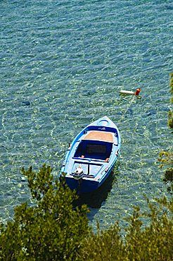 Boats moored at Panormos, Skopelos, Sporades Islands, Greek Islands, Greece, Europe