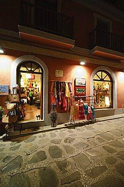 Shops in Skopelos Town at night, Skopelos, Sporades Islands, Greek Islands, Greece, Europe