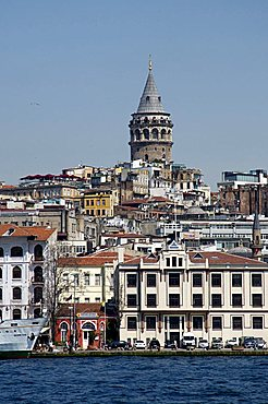 Galata Tower in background, The Bosporus, Istanbul, Turkey, Europe