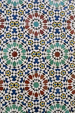 Detail of tilework, the Royal Palace, Fez, Morocco, North Africa, Africa - 641-4418