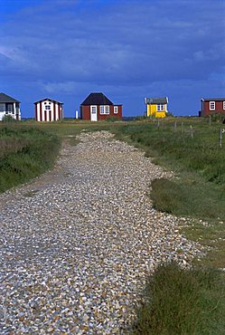Beach huts, Aeroskobing, island of Aero, Denmark, Scandinavia, Europe