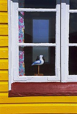 Window of beach hut, Aeroskobing, island of Aero, Denmark, Scandinavia, Europe