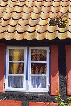 Detail of window in a colourful house, Aeroskobing, island of Aero, Denmark, Scandinavia, Europe