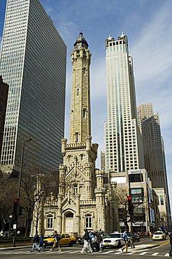 The historic Water Tower, near the John Hancock Center, Chicago, Illinois, United States of America, North America