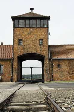 The rail entry where all prisoners came, Auschwitz second concentration camp at Birkenau, UNESCO World Heritage Site, near Krakow (Cracow), Poland, Europe