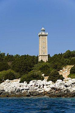Lighthouse, Fiskardo, Kefalonia (Cephalonia), Ionian Islands, Greek Islands, Greece, Europe