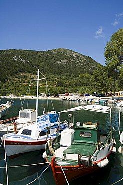Fishing boats, Poli Bay, Ithaka, Ionian Islands, Greek Islands, Greece, Europe