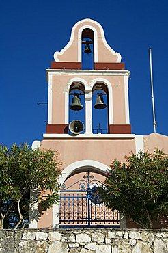 Church bell tower, Fiskardo, Kefalonia (Cephalonia), Ionian Islands, Greece, Europe