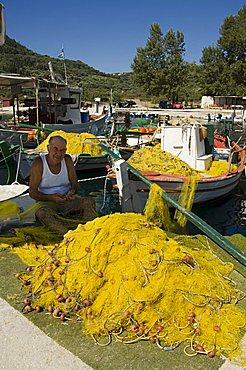 Fishing boats, Poli Bay, Ithaka, Ionian Islands, Greece, Europe