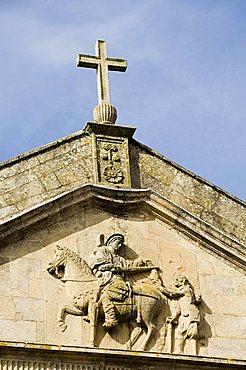 Detail of front of church of San Martin Pinario, Santiago de Compostela, Galicia, Spain, Europe