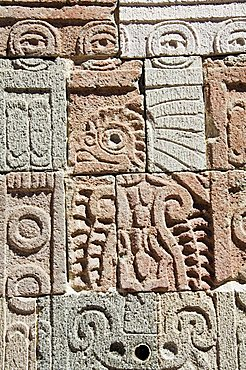 Columns depicting the Quetzal Bird, Palace of the Quetzal Butterfly, Teotihuacan, 150AD to 600AD and later used by the Aztecs, UNESCO World Heritage Site, north of Mexico City, Mexico, North America