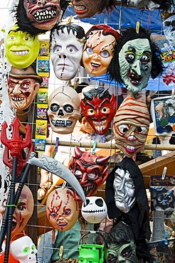 Masks for sale on market day, Zaachila, Oaxaca, Mexico, North America