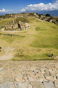 Looking north across the ancient Zapotec city of Monte Alban, UNESCO World Heritage Site, near Oaxaca City, Oaxaca, Mexico, North America